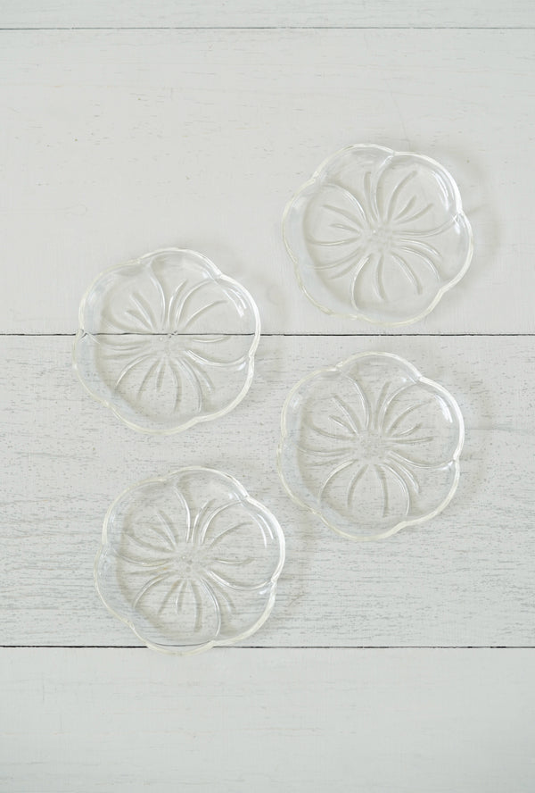 Vintage Set of 5 Little Glass Hibiscus Flower Coaster / Catchall Dishes
