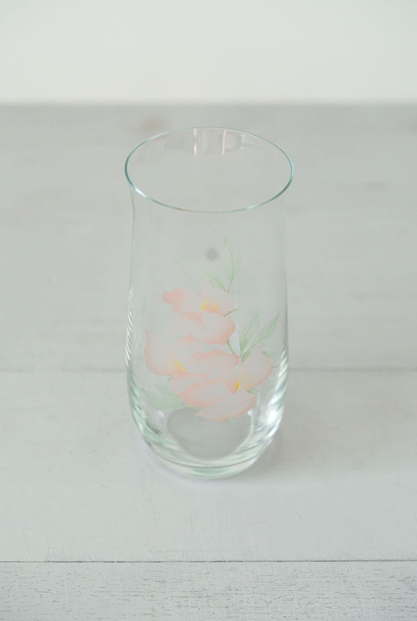 Delicate Glass With Painterly Etched Pink Flowers
