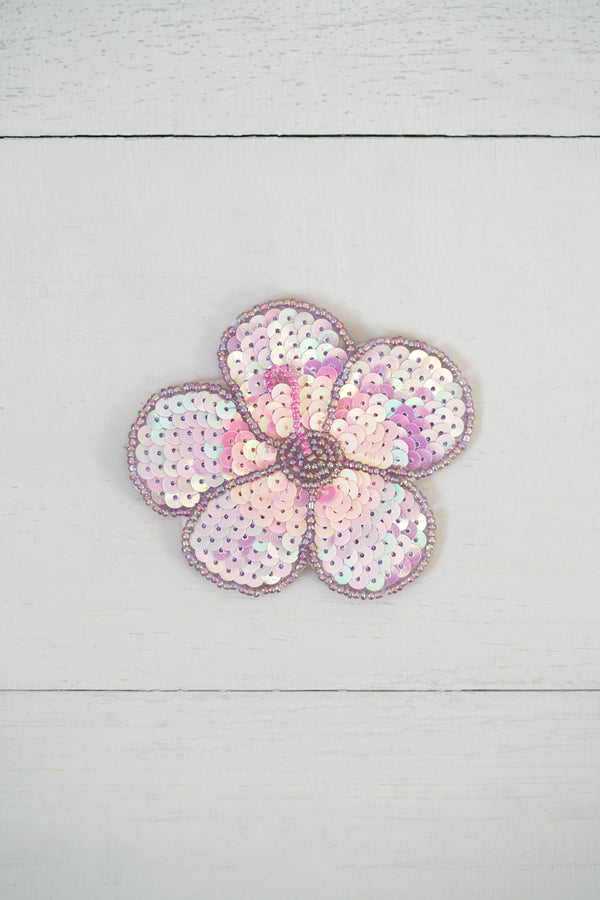 Purple Sparkle Sequins Hibiscus Flower Patch