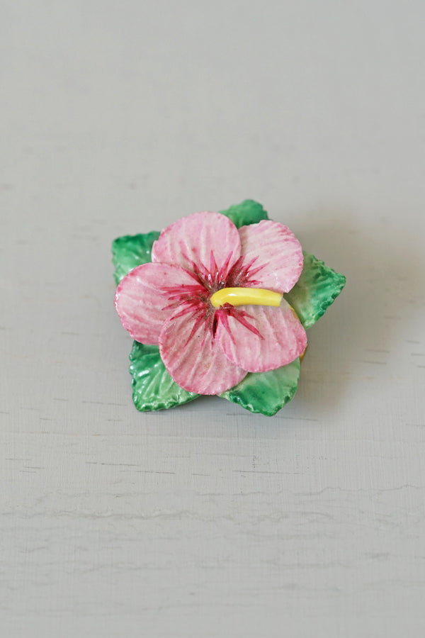 Vintage Artone Bone China Hibiscus Flower Pin
