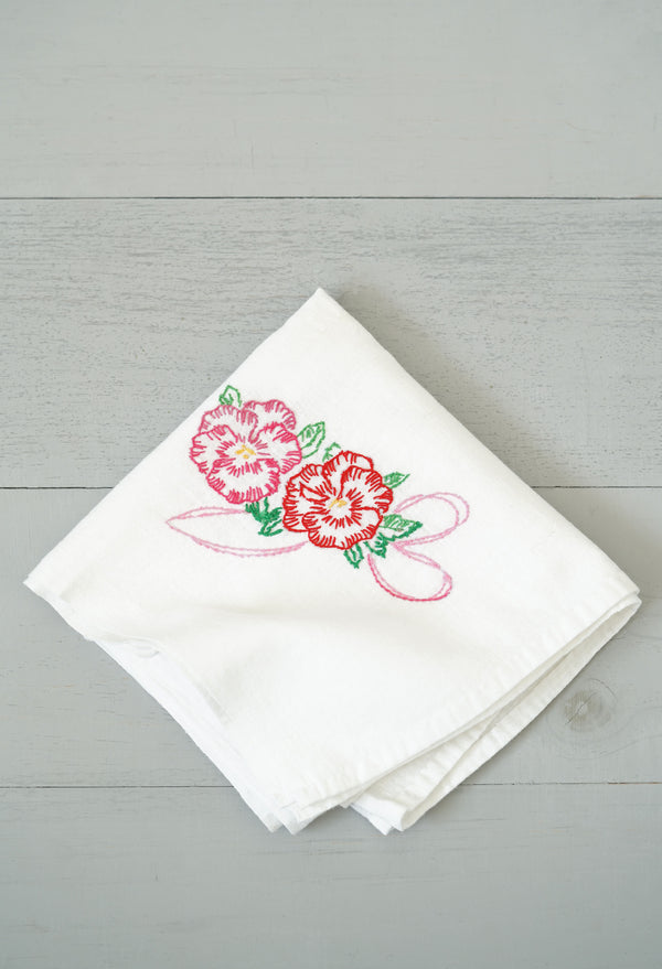 Vintage White Kitchen Tea Towel With Hibiscus Flower Embroidery