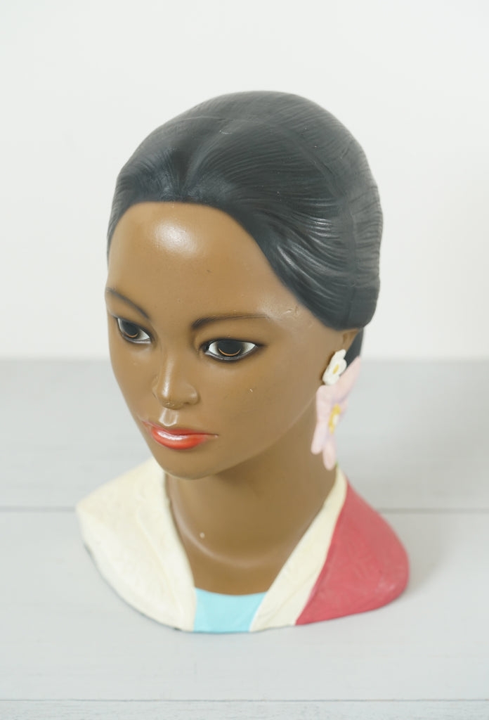 Vintage Polynesian Hawaiian Woman Chalkware Bust by Lego Japan - Red Top & Pink Flower