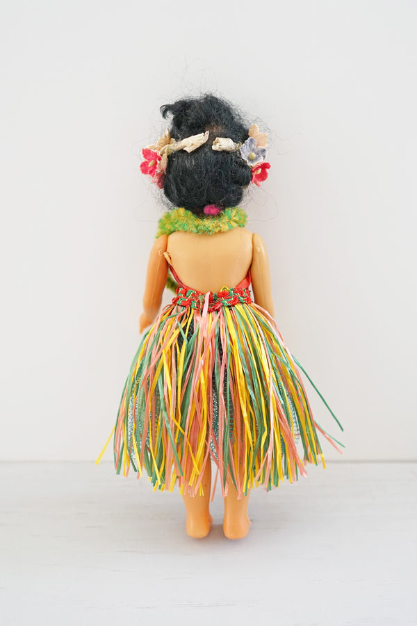 Adorable Vintage Plastic Hula Girl Doll With Handmade Outfit