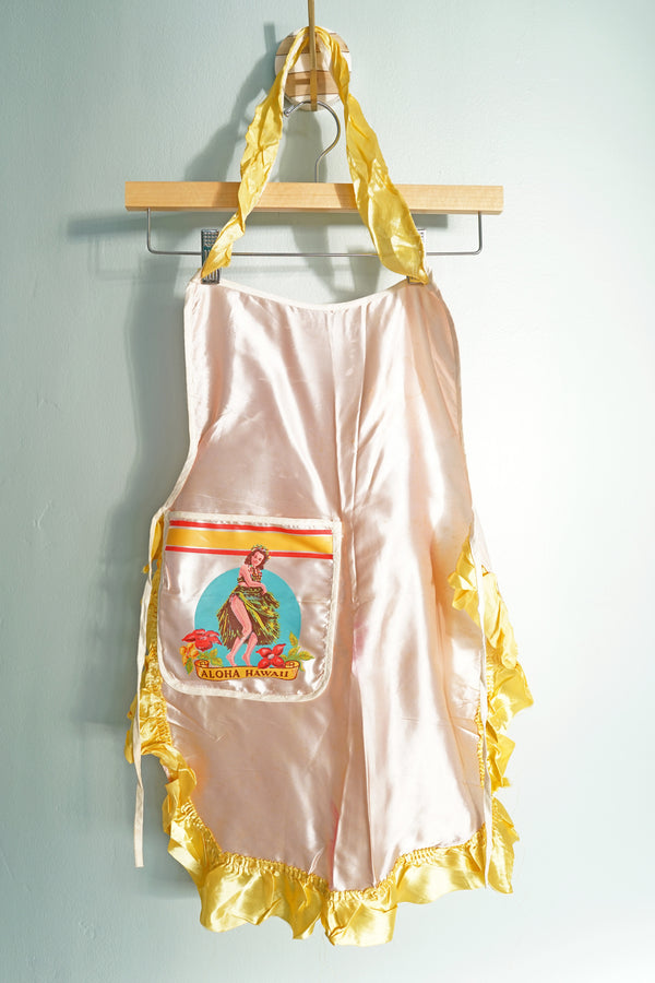 Vintage Pink and Yellow Satin Children's Hula Girl Aloha Hawaii Apron