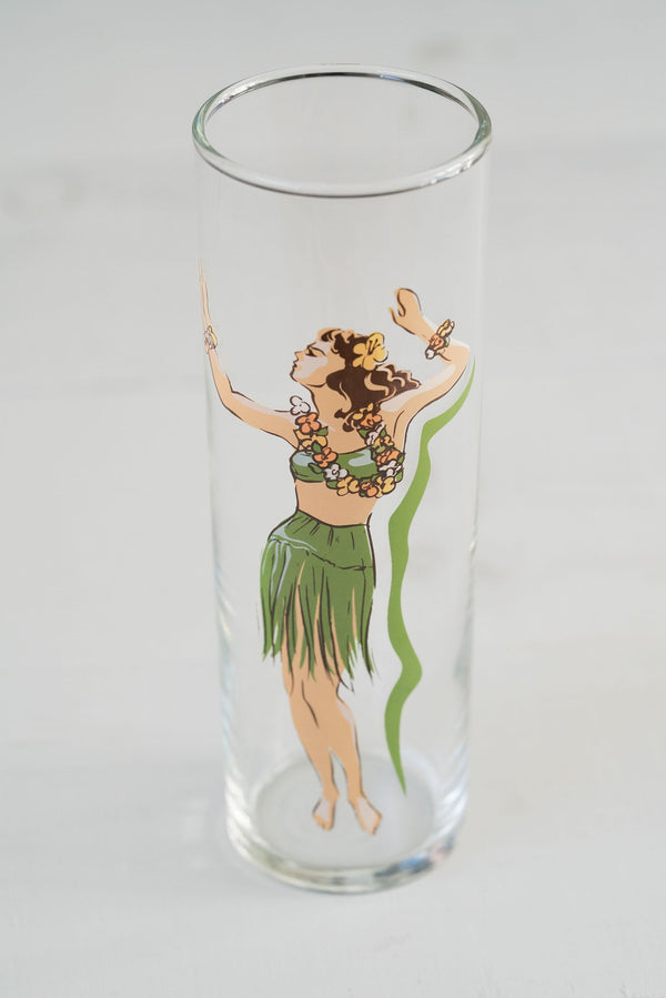 Vintage Tall Hula Girl Glass