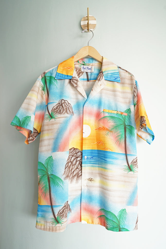 Vintage 1970s Sunset Rainbow Kai Nani Men's Large Hawaiian Button-Up Shirt
