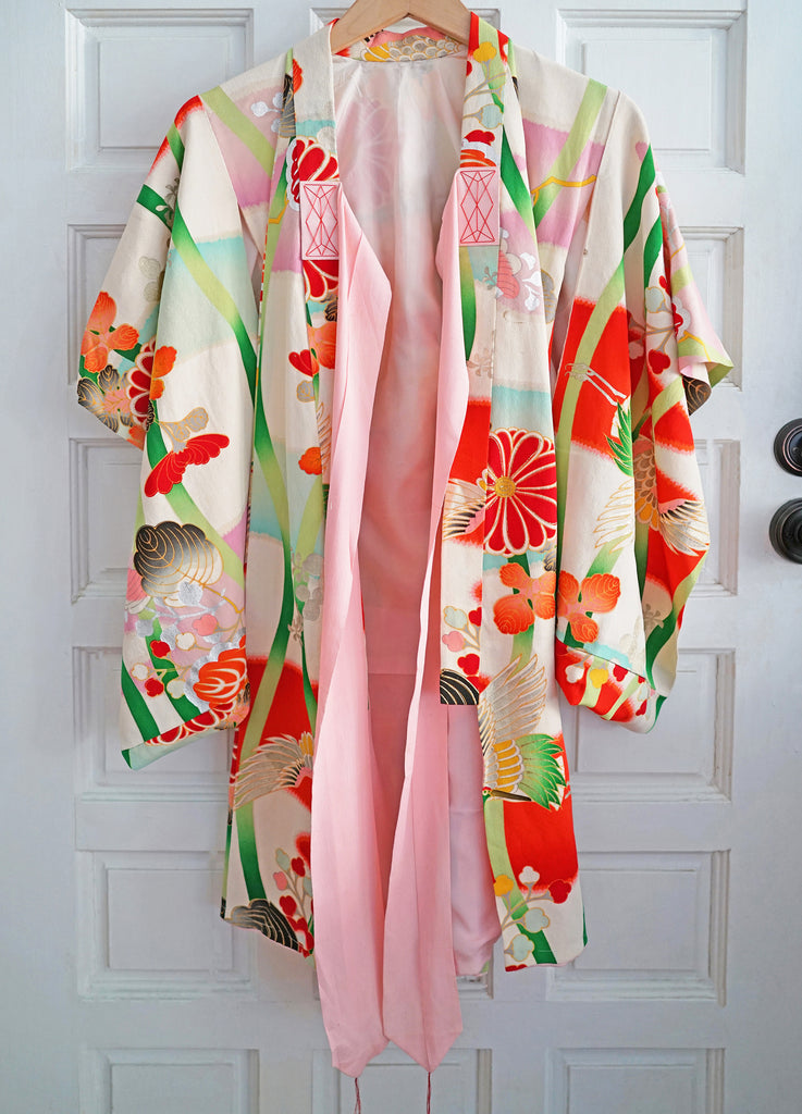 Vintage 1960s Handmade Silk Traditional Japanese Kimono - Child or Young Teen - Red, Green, Phoenix Bird