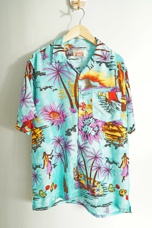 Vintage Waikiki Creations Flowy Turquoise and Purple Men's Large Hawaiian Button-Up Shirt