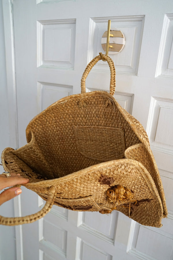 Vintage Large Woven Straw and Palm Boho Beach Bag Tote