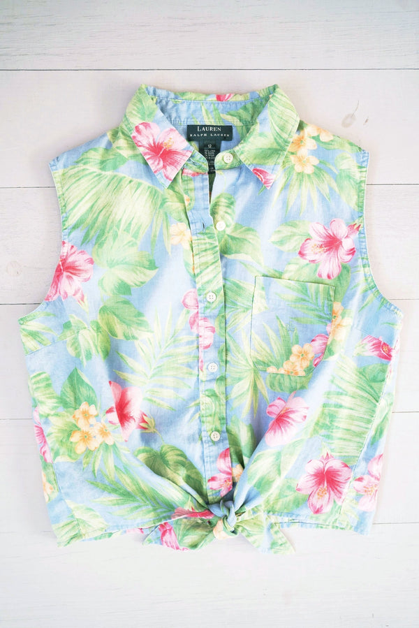 Hawaiian Sleeveless Tie Front Linen Top by Lauren by Ralph Lauren