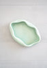 Vintage 1940s Abstract Mint Green Ceramic Shallow Bowl