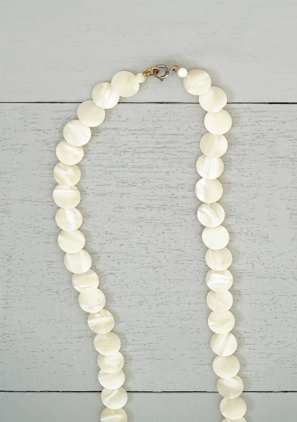 Vintage Long Mother of Pearl Disc Beads Necklace