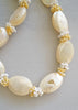Vintage Hawaiian Nautilus and Ni'ihau Kahelelani Shell Ribbon Lei Necklace