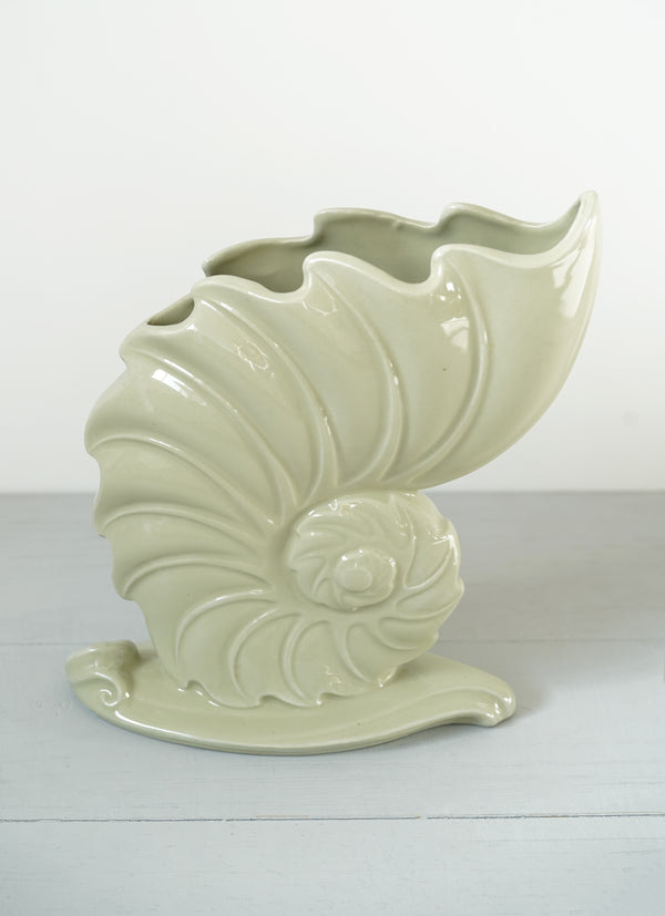 Large Vintage Soft Mint Green Nautilus Shell Vase