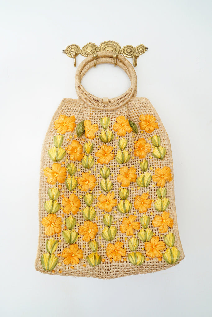 Handmade Vintage Woven Beach Purse with Raffia Flowers and Round Handles