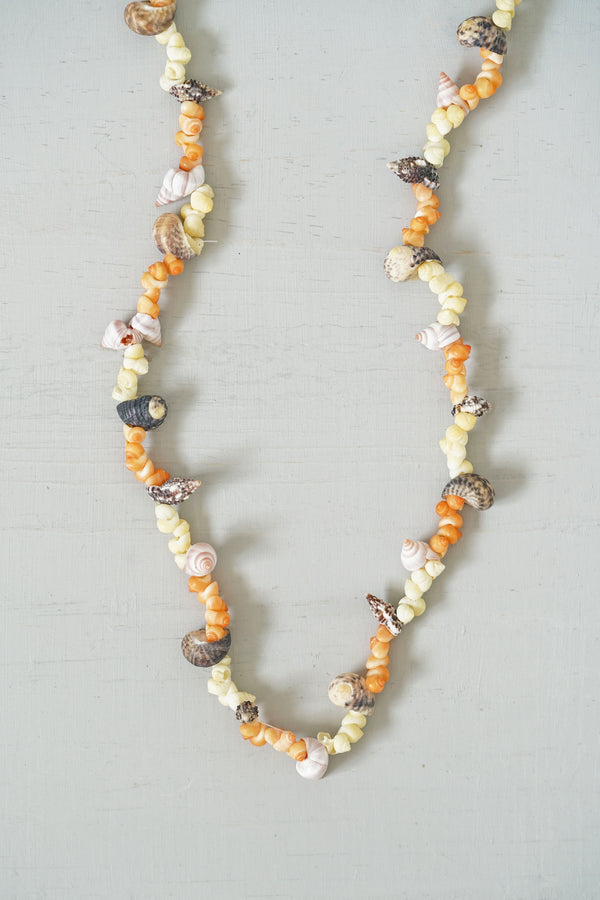 Orange and Yellow Multi-Shell Beaded Lei Necklace