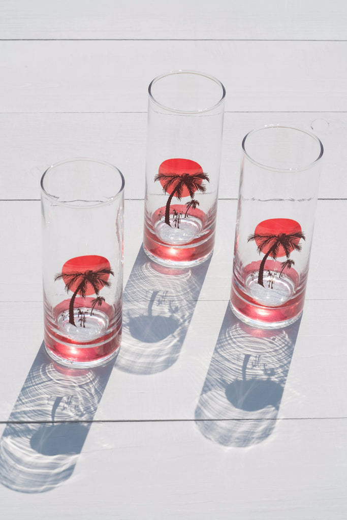 Set of 3 Vintage Panache Pink Palm Tree Drinking Glasses