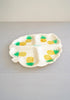 Cute Vintage Leaf-Shaped Shell Pineapple Hawaii Platter Tray