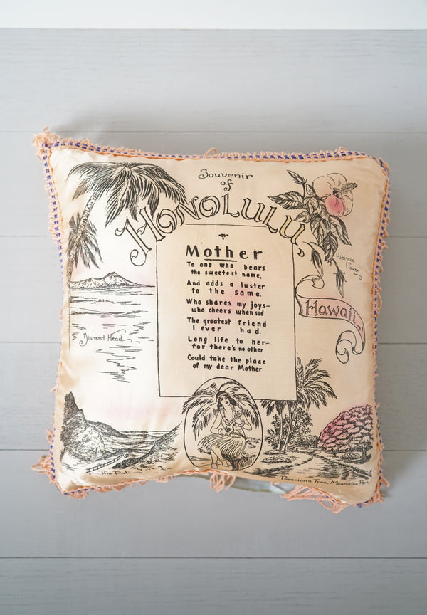 Vintage 1940s - 1950s Souvenir of Honolulu Hawaii Mother Pink Silky Fringe Pillow