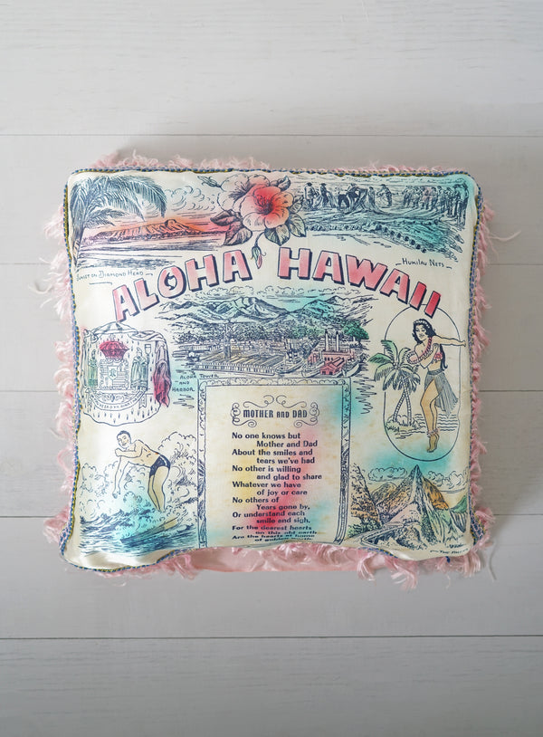 "Vintage 1940s - 1950s Blue and Pink Fringe Aloha Hawaii ""Mother and Dad"" Silky Pillow"