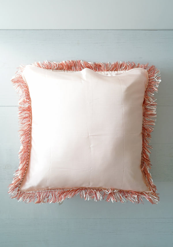 Vintage 1940s Hawaiian Bright Pink Satin Fringe Mother Poem Pillow