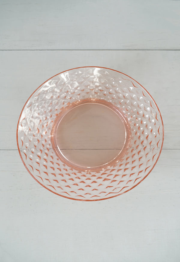 Vintage 1930s Quilted Diamond Pink Glass Bowl by Imperial Glass Co. USA