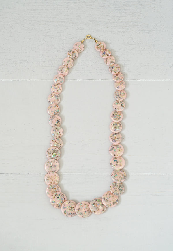Vintage Pink Coin and Abalone Fleck Terrazzo Necklace