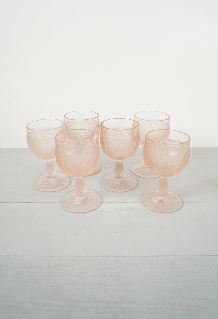 Vintage Set of 6 Italian Pink Wine Glasses With Frosted Flowers