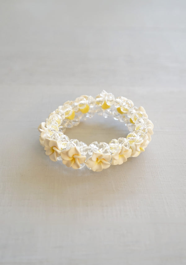 Cute Stretchy White and Yellow Plumeria Beaded Bracelet