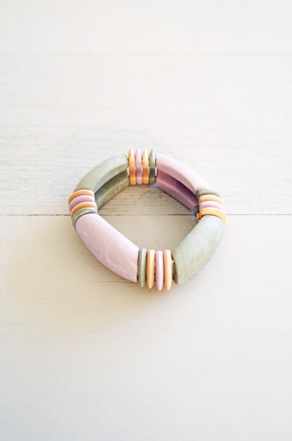 Pastel Purple and Gray Geometric Bead Stretchy Bracelet
