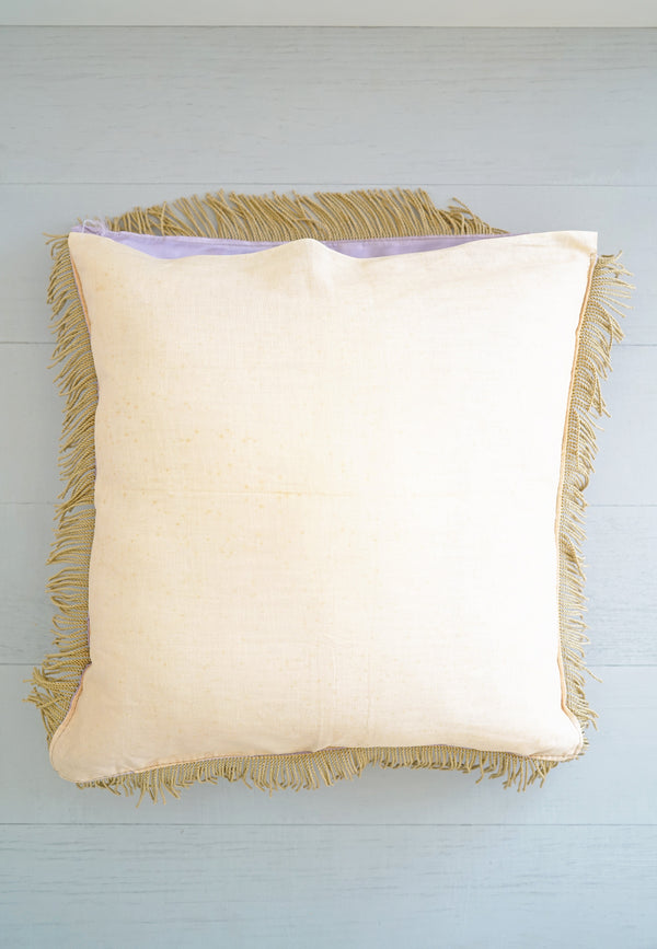 Vintage 1940s Honolulu Hawaii Purple - Blue Fringe Silky Sister Pillow