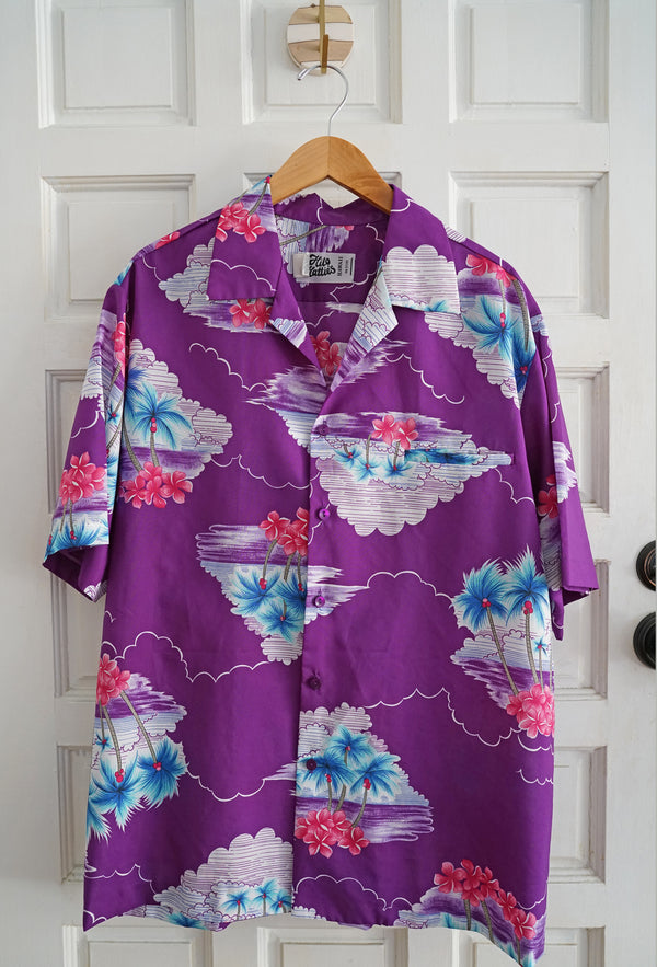 Vintage 1968 Hilo Hattie Hawaii Purple Plumeria Palm Tree Cloud Men's Shirt