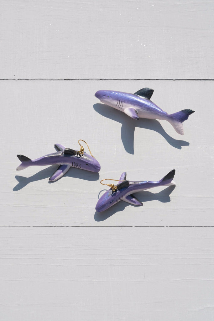 Vintage Handmade Purple Shark Dangle Earrings and Pin Set - Limited Edition