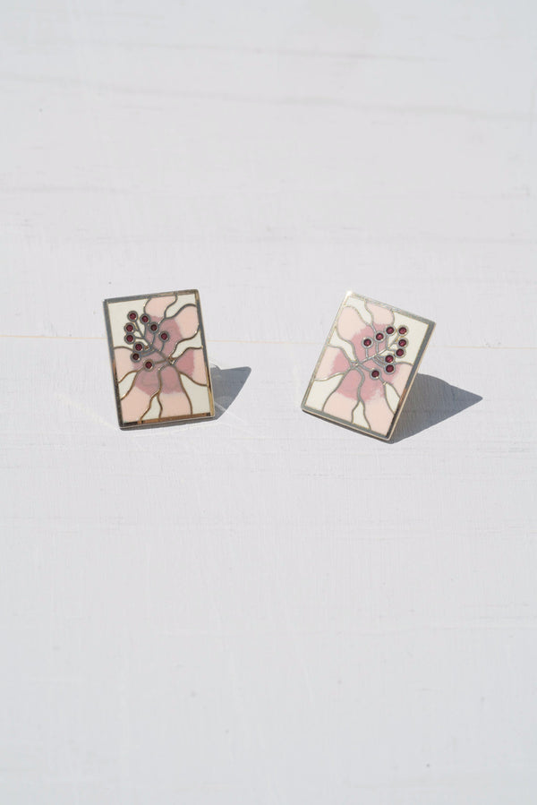 Vintage Pale Pink Tropical Flower Cloisonne Earrings by Laurel Burch