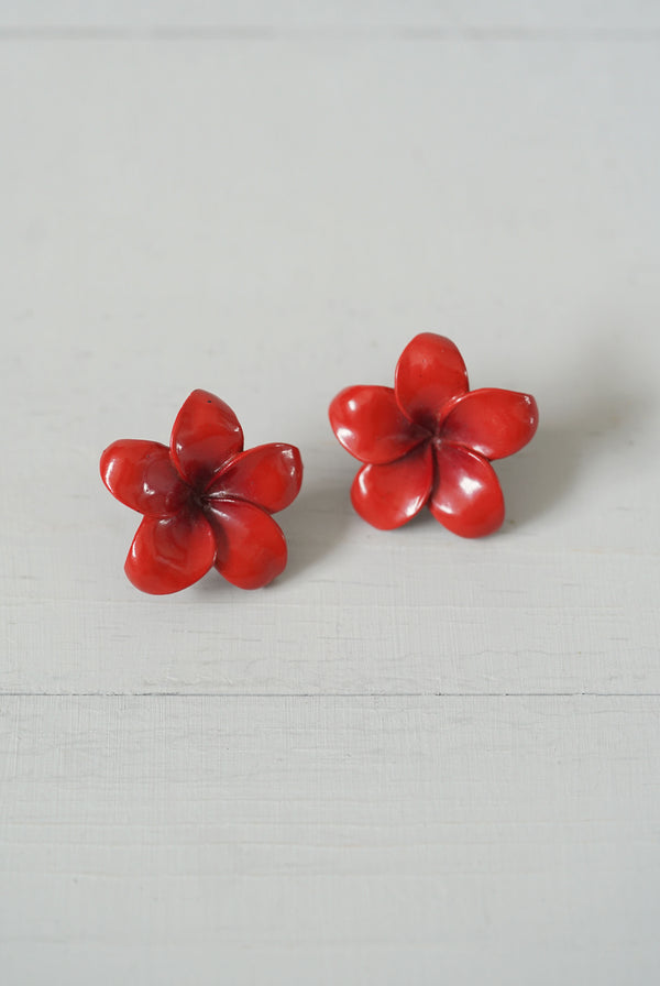Vintage Red Carved Wood Plumeria Flower Screw-Back Earrings