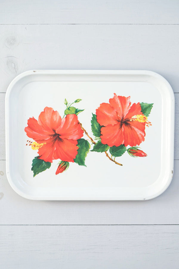Vintage Metal Red Hibiscus Tray