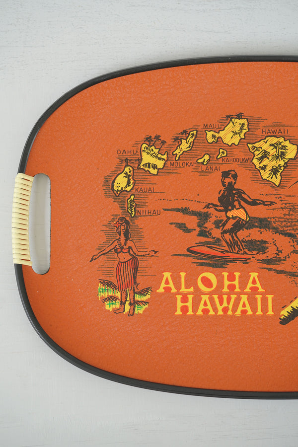Vintage 1960s Large Red Tilso Hawaii Serving Tray With Aloha Drawings