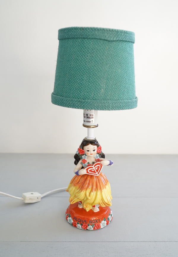 Rare Cute Vintage Roxy Aloha Hula Girl Kid's Bedroom Lamp