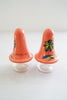 Vintage Honolulu Hawaii Peach Hand-Painted Palm Tree Plastic Salt and Pepper Set