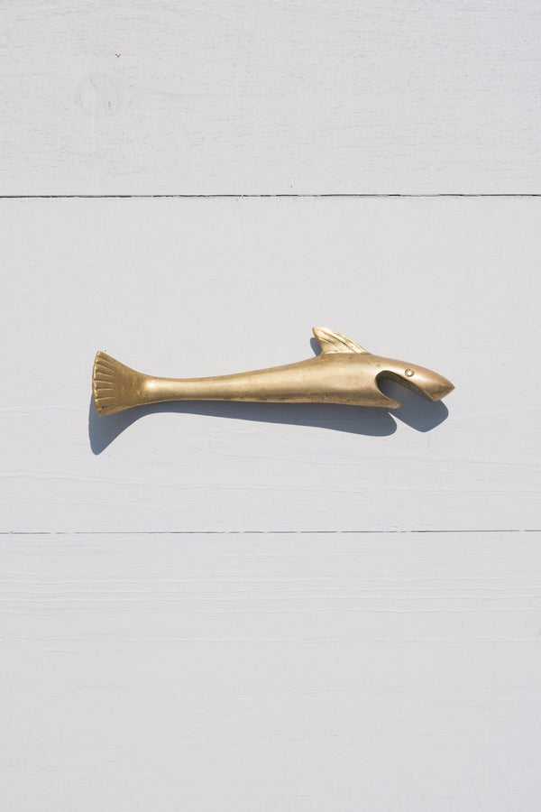 Vintage Solid Brass Shark Bottle Opener