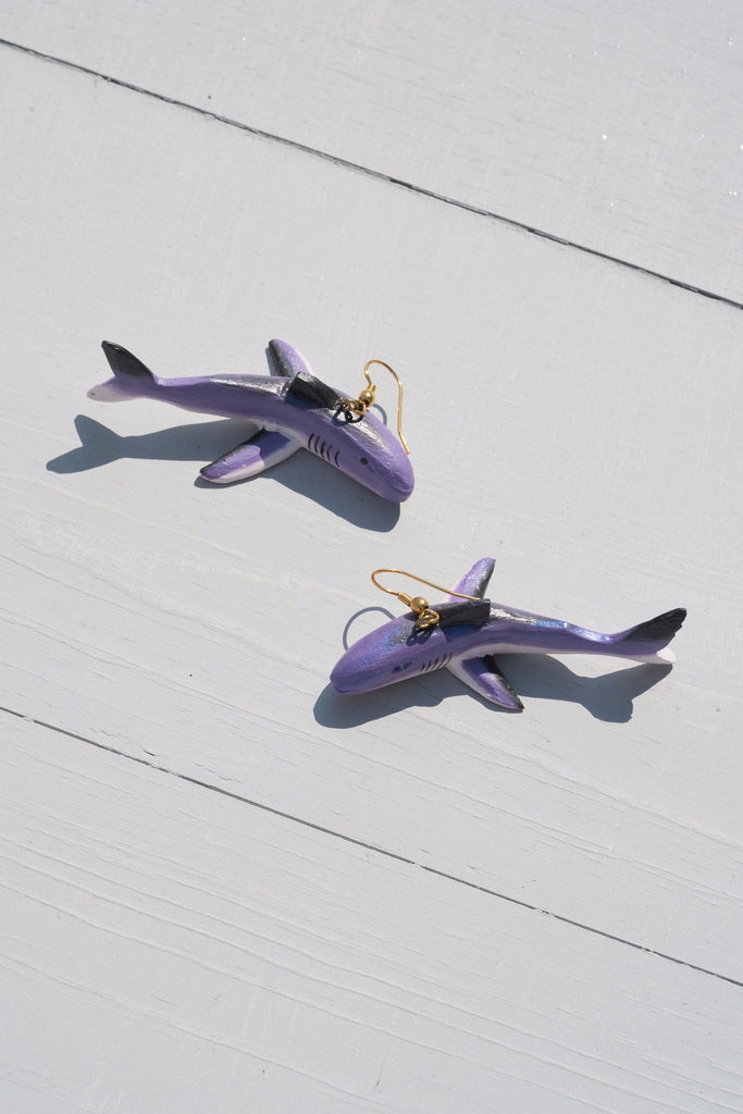 Vintage Large Handmade Purple Shark Dangle Earrings - Limited Edition