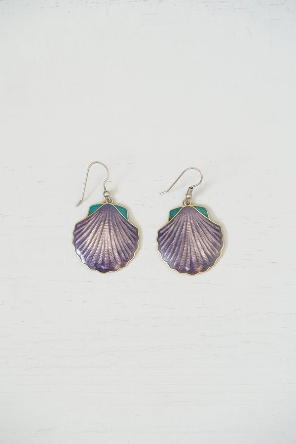 Vintage Purple Enamel Scallop Shell Dangle Earrings