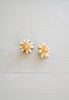 Rare Vintage Hawaiian Orange Ni'ihau Kahelelani Shell Cluster and Gold Filigree Post Earrings