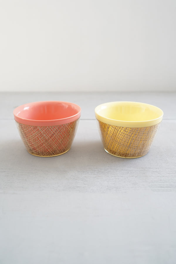 Cute Vintage Set of 2 Plastic and Basketweave Straw Snack / Cereal Bowls