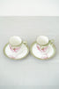 Set of 2 Antique RS Germany Green and Pink Iris Tea Cup and Saucer Set - Gold Trim