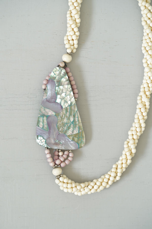 Vintage Beaded Terrazzo Mother-of-Pearl Shell Inlay Necklace
