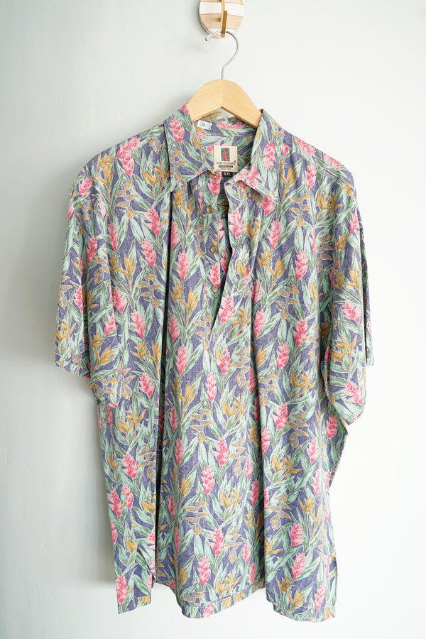Vintage Tori Richard Honolulu Birds of Paradise Men's XXL Hawaiian Button-Neck Shirt
