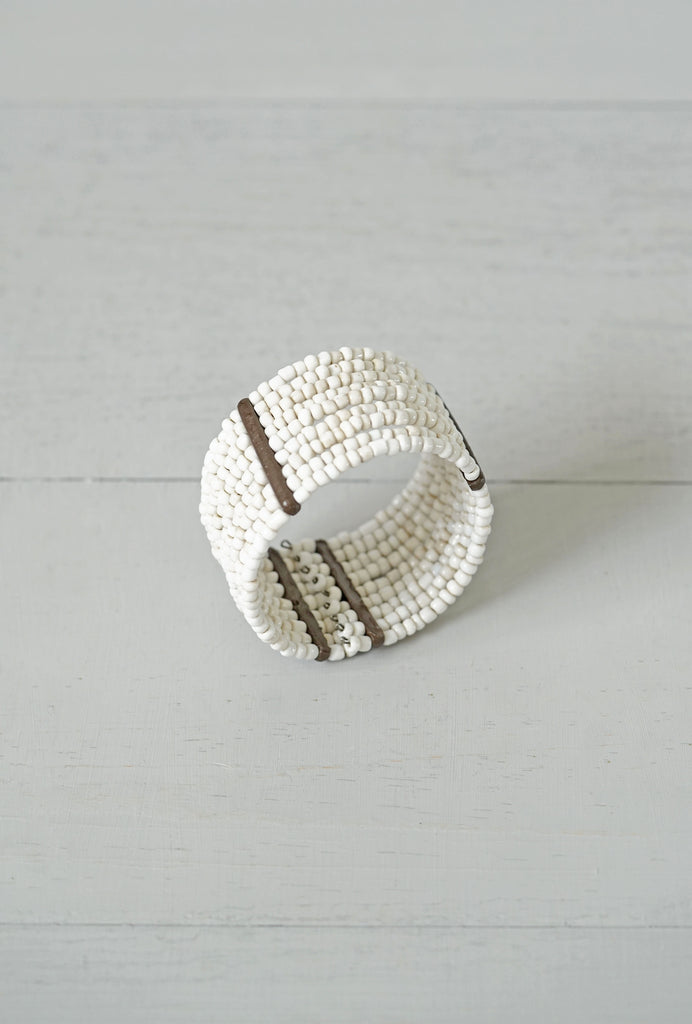 Small White Bead Stretchy Cuff Bracelet