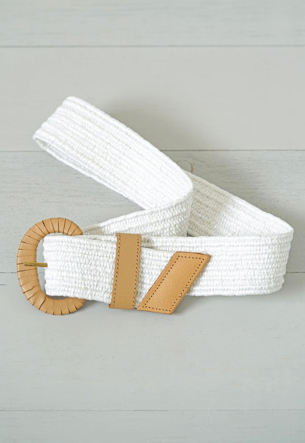 Wide White Beachy Belt With Faux Leather Buckle