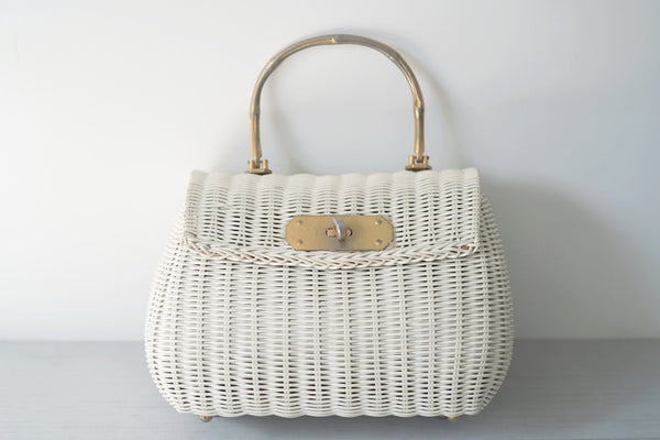 Vintage White Wicker Purse With Brass Bamboo Handle
